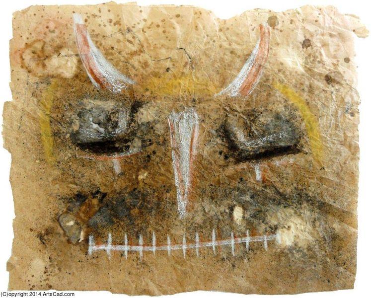 Sguardo dello shamano - Mista su carta di Montesanto - cm 52 x 63,5 - 2012